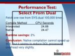 performance test select from dual