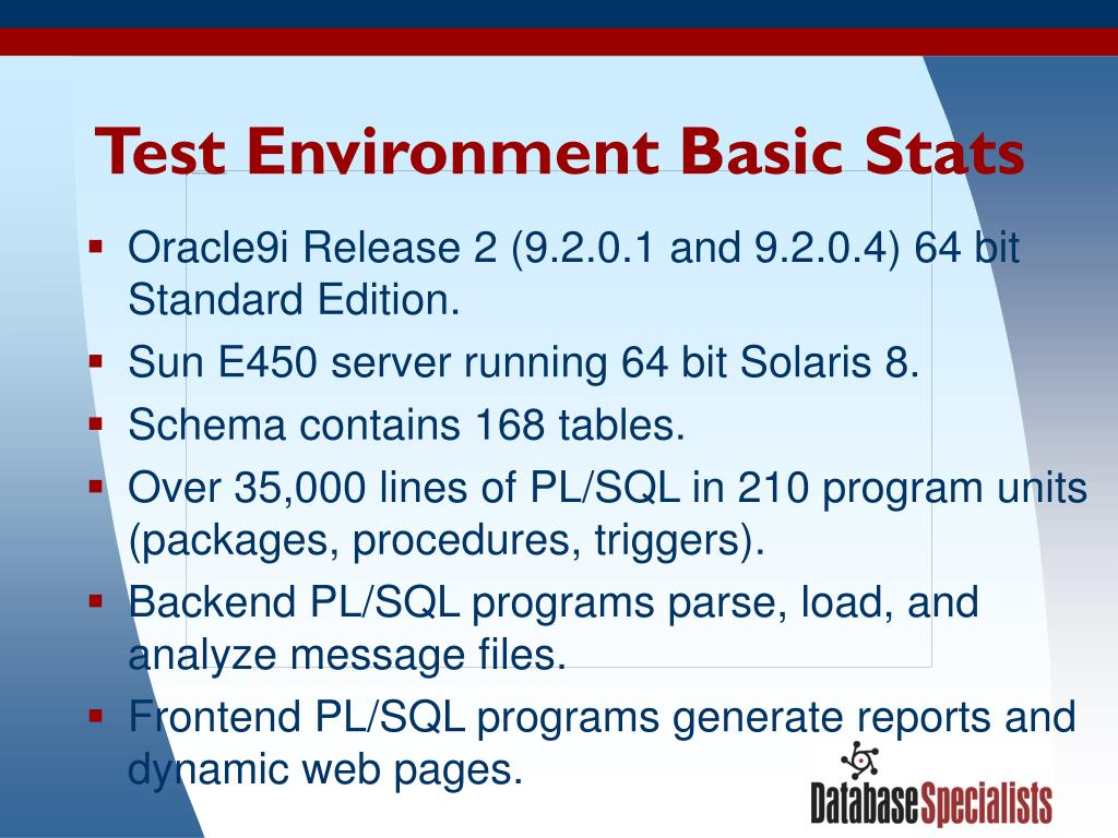 Test Environment Basic Stats