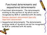 functional determinants and sequestered determinants