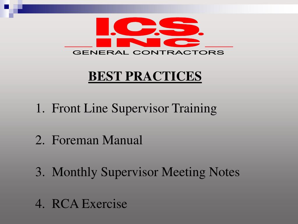 best practices manual for supervisors 2 essay Best practices manual for supervisors libby turner mgt 210 september 2, 2010 in this manual we will review and discuss communication skills, effective orientation and.