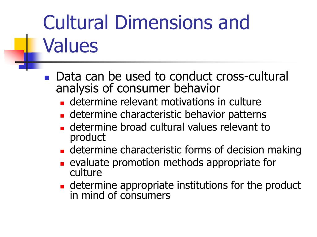 Cultural Dimensions and Values