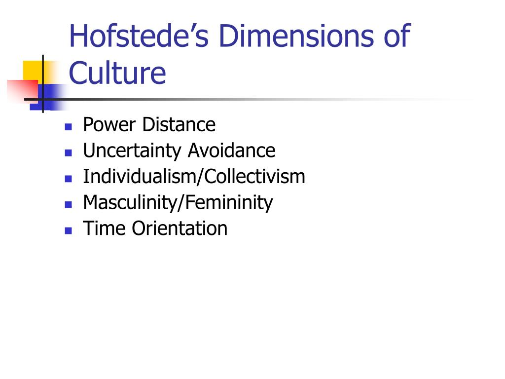 Hofstede's Dimensions of Culture