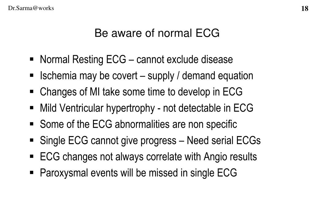 Normal Resting ECG – cannot exclude disease