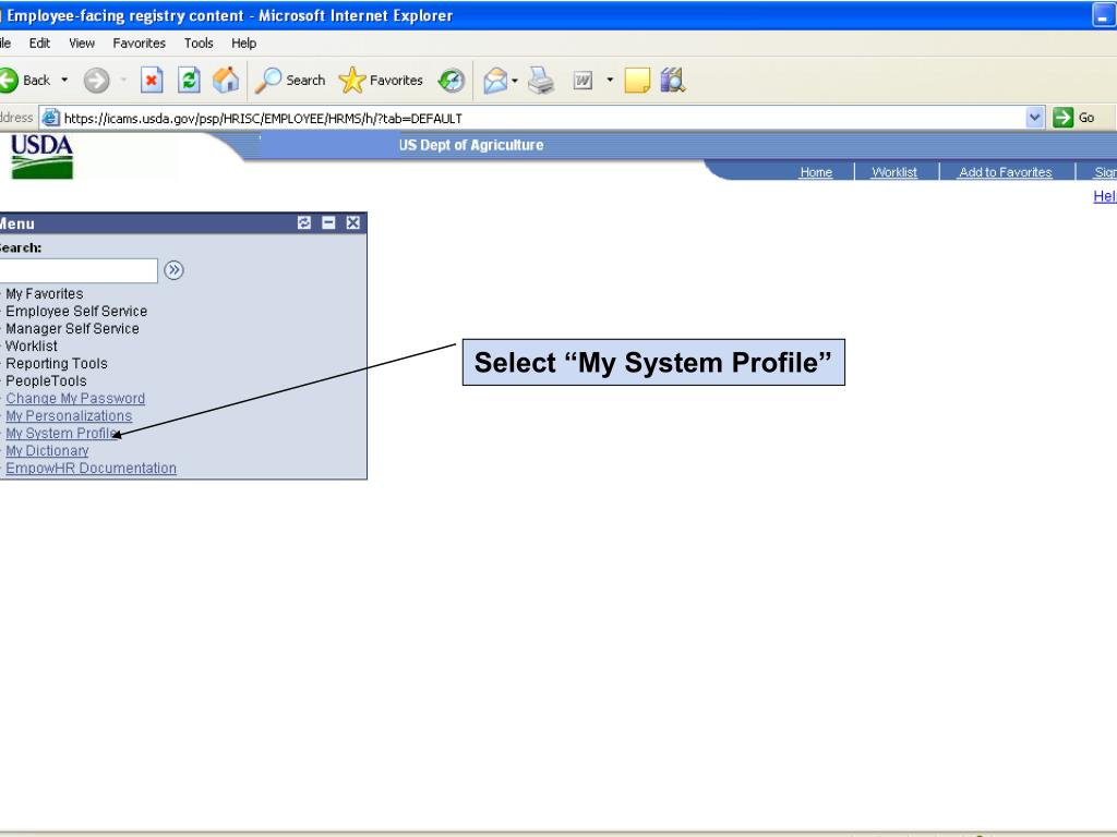 "Select ""My System Profile"""