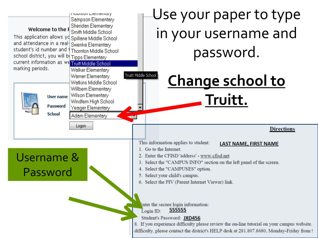 Use your paper to type in your username and password.