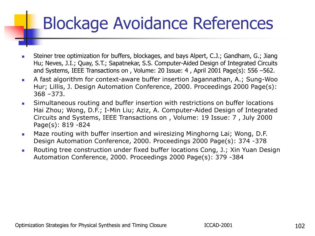 Blockage Avoidance References