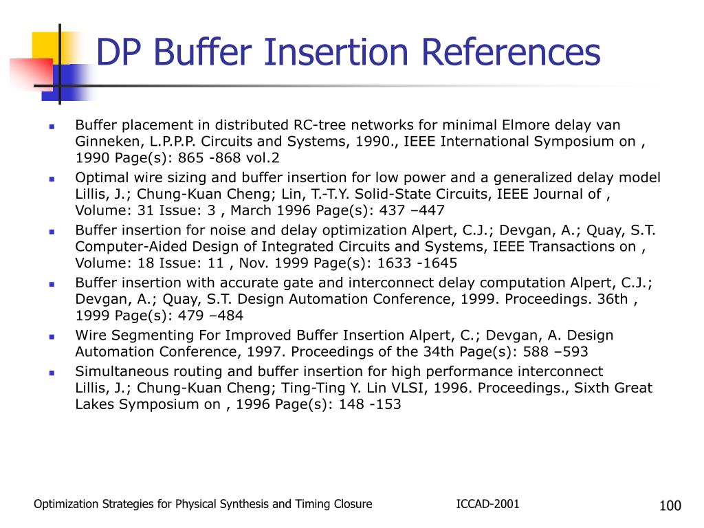 DP Buffer Insertion References