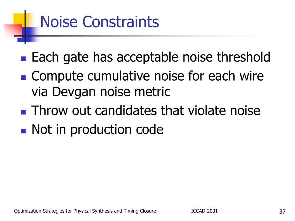 Noise Constraints
