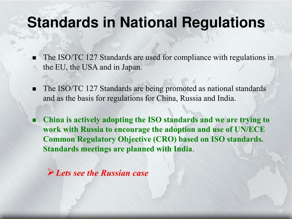 Standards in National Regulations