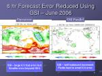 6 hr forecast error reduced using gsi june 2006