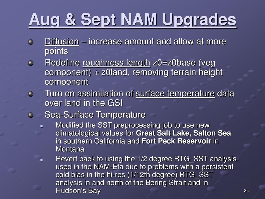 Aug & Sept NAM Upgrades