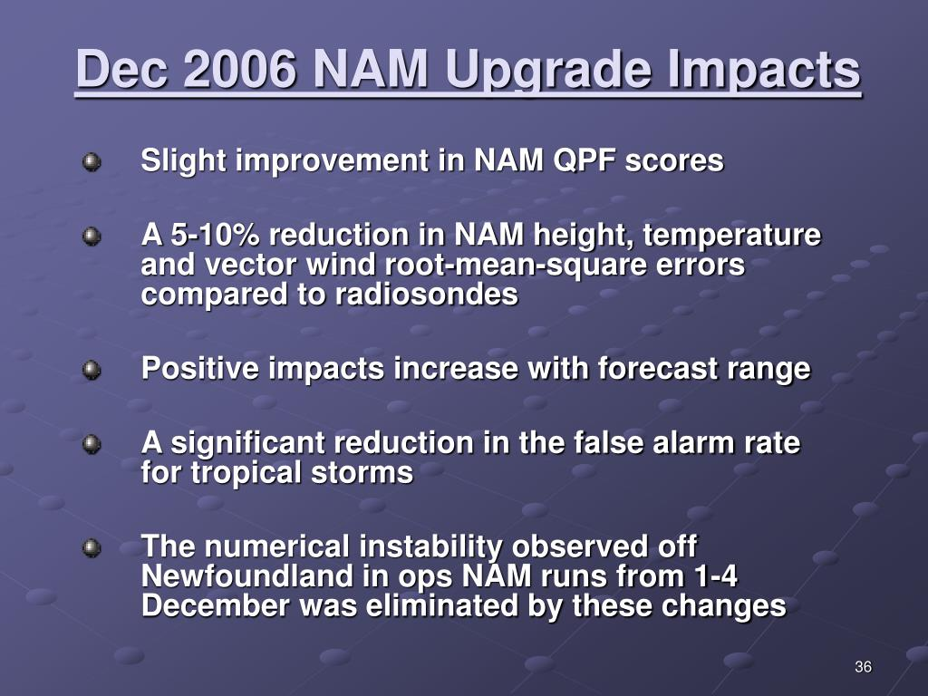 Dec 2006 NAM Upgrade Impacts