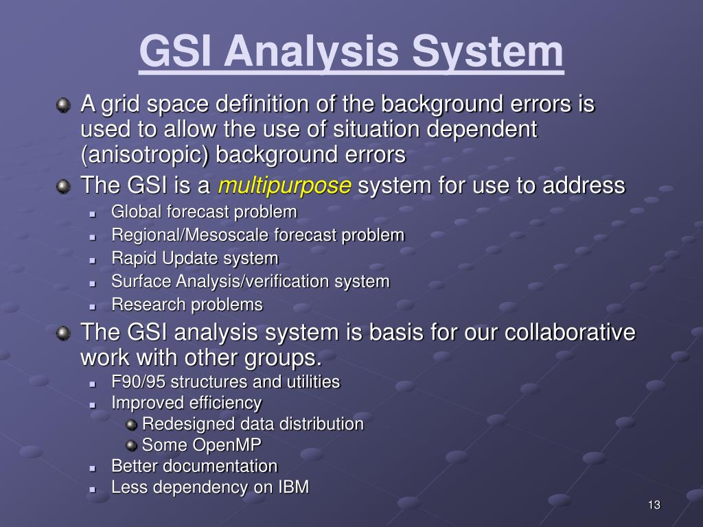 GSI Analysis System