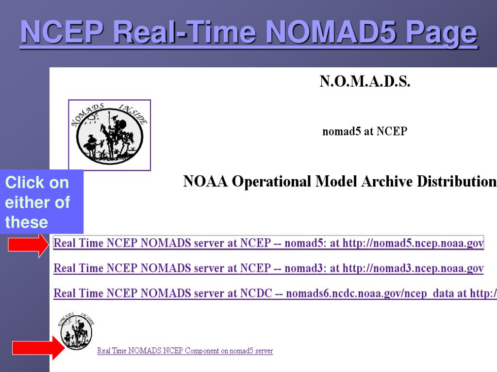 NCEP Real-Time NOMAD5 Page