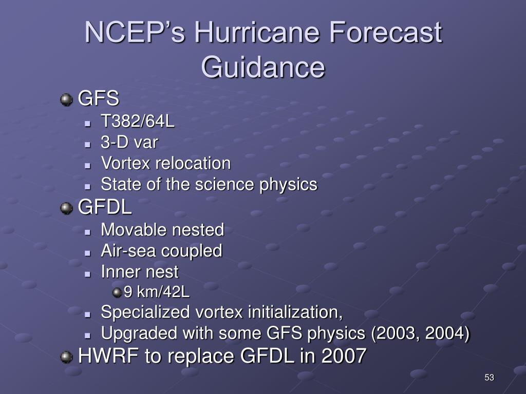 NCEP's Hurricane Forecast Guidance