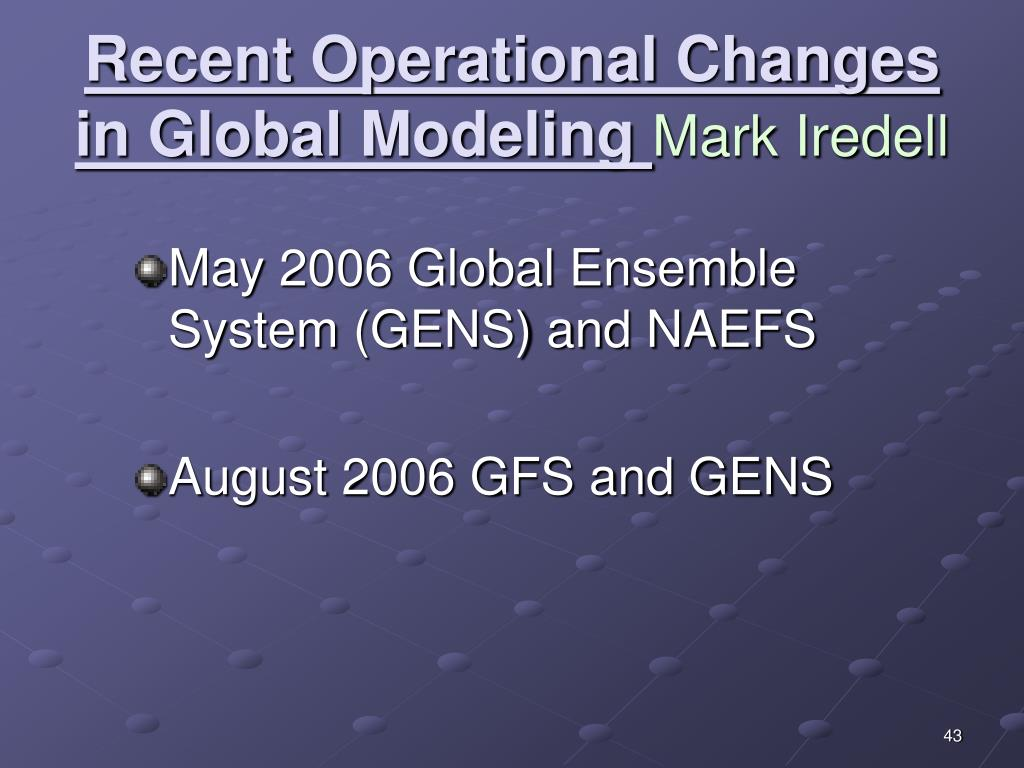Recent Operational Changes in Global Modeling