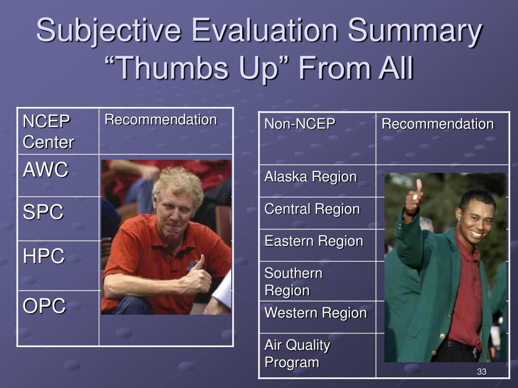 Subjective Evaluation Summary