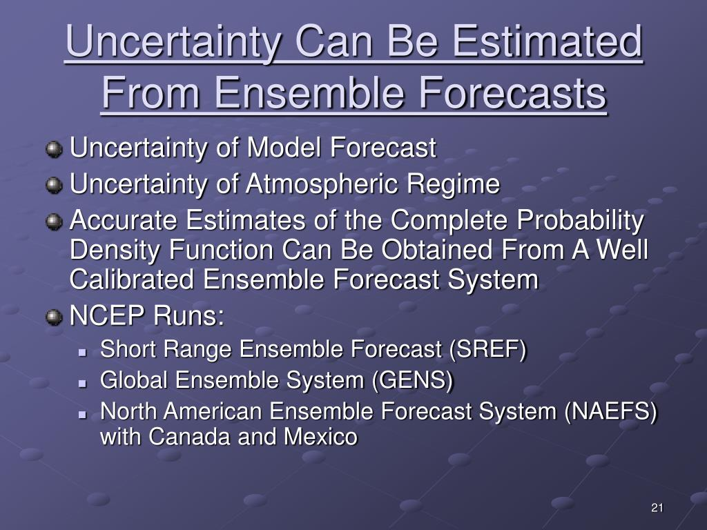 Uncertainty Can Be Estimated From Ensemble Forecasts