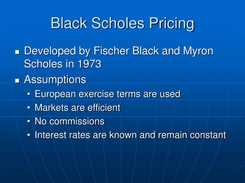 Black Scholes Pricing