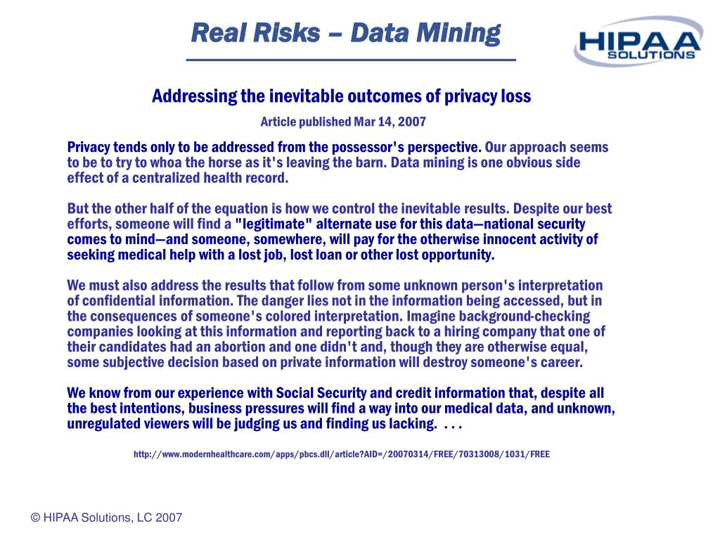 Real Risks – Data Mining