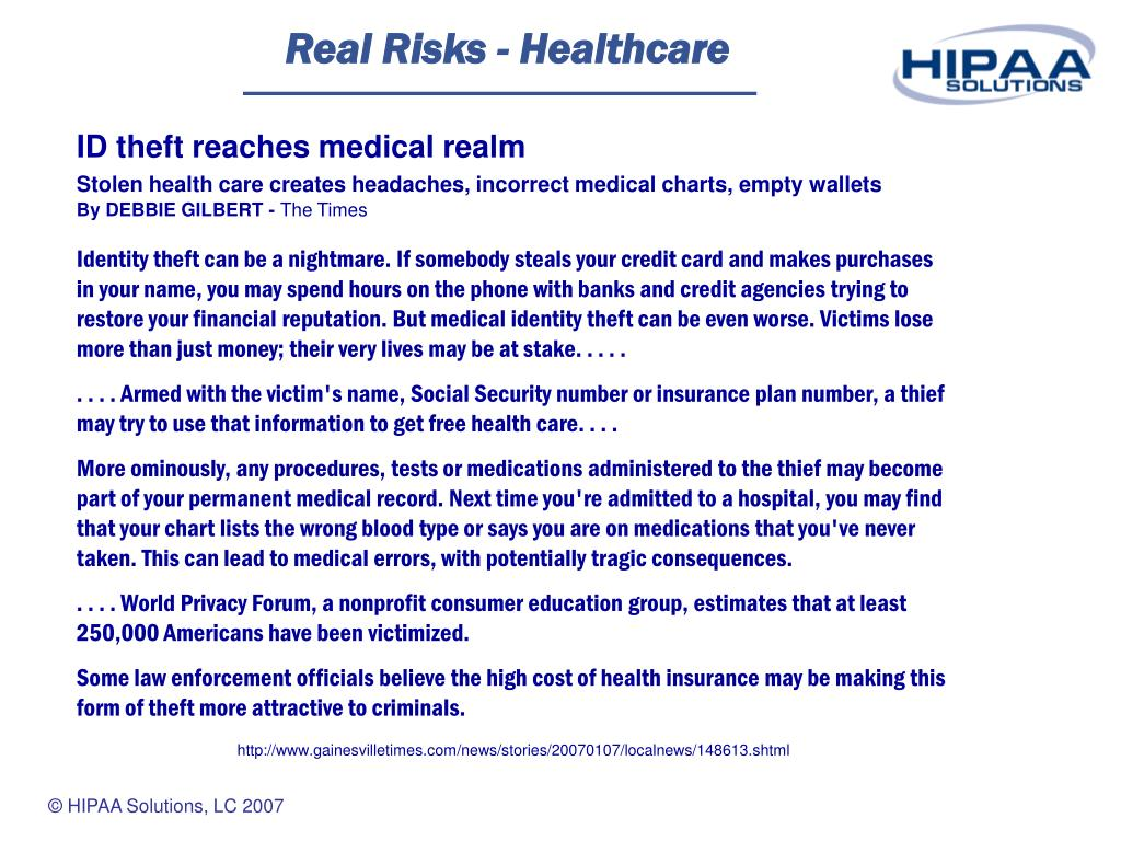 Real Risks - Healthcare