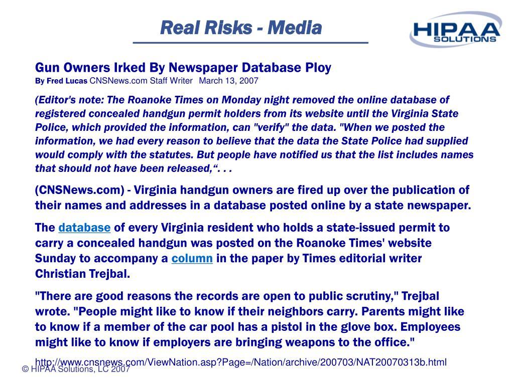Real Risks - Media