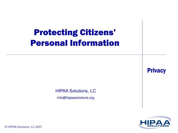 Protecting Citizens' Personal Information