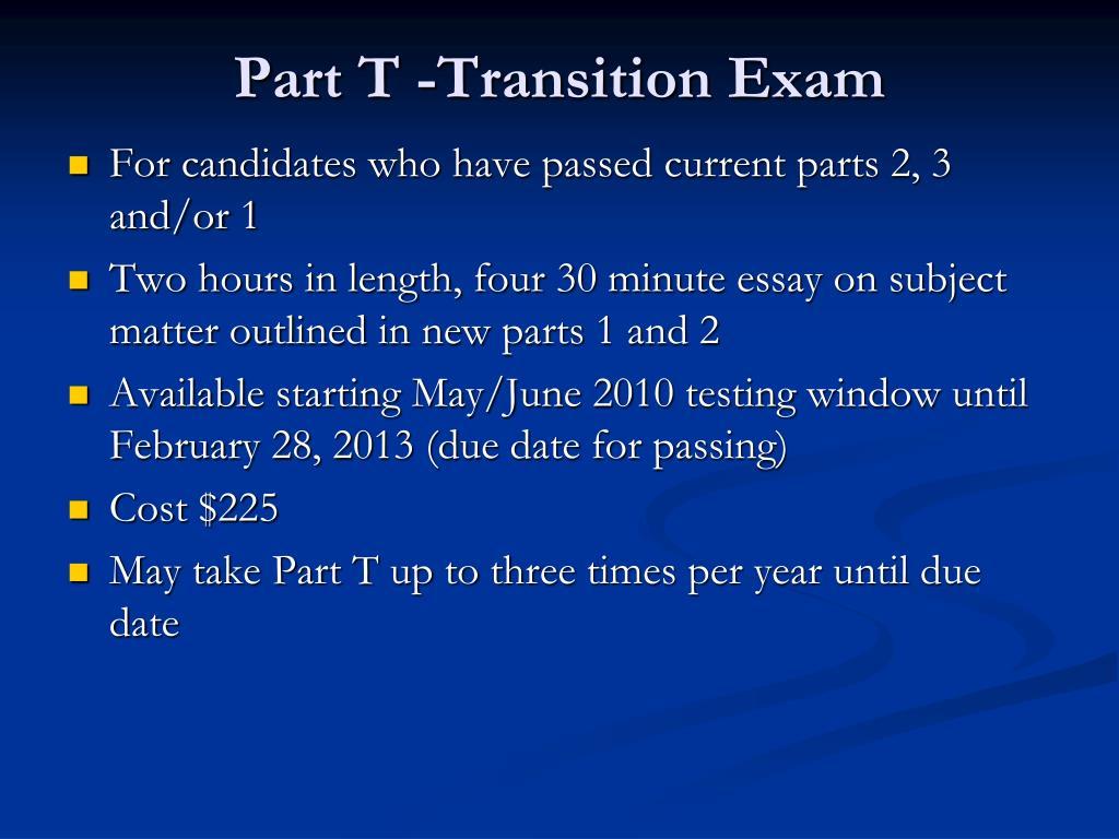 Part T -Transition Exam