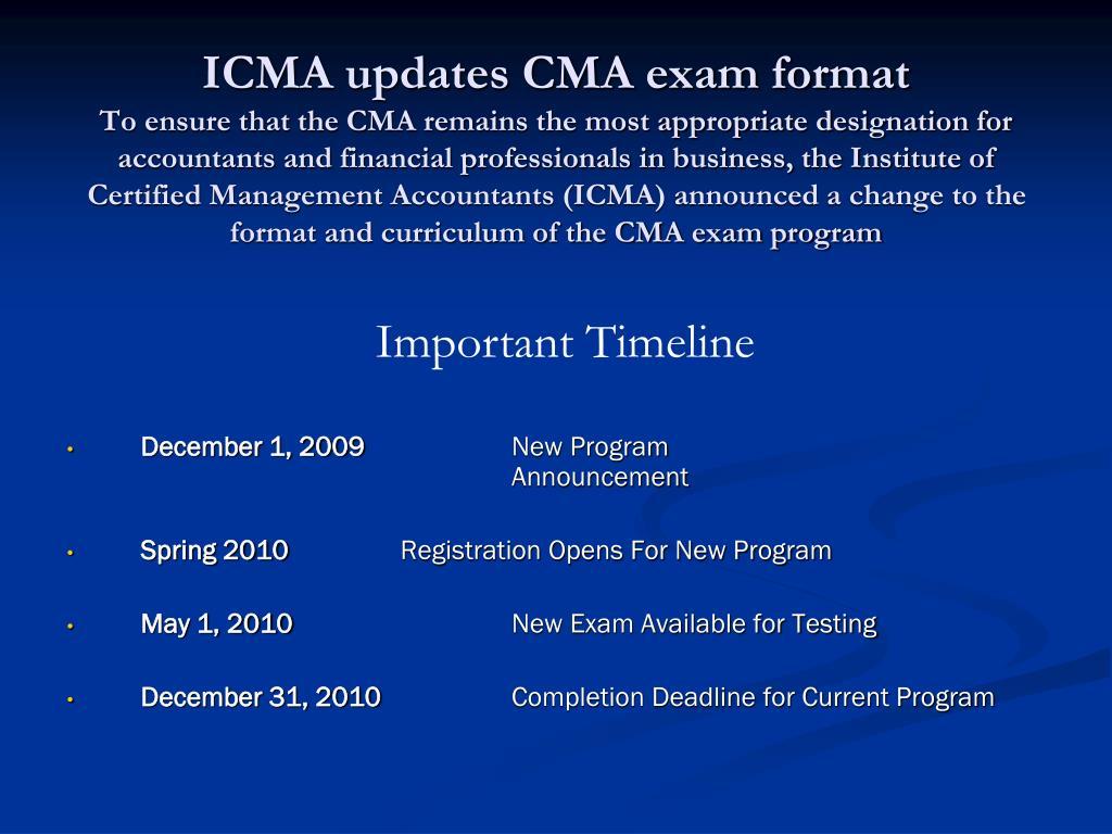 ICMA updates CMA exam format