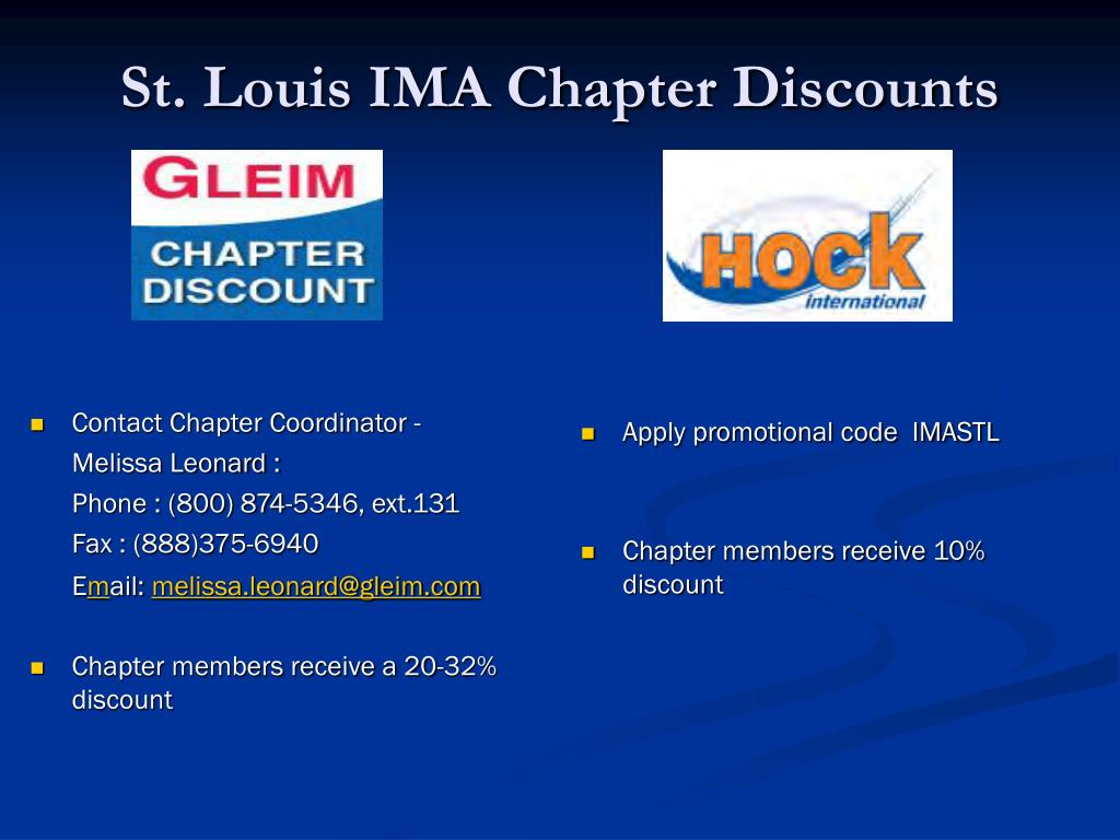St. Louis IMA Chapter Discounts
