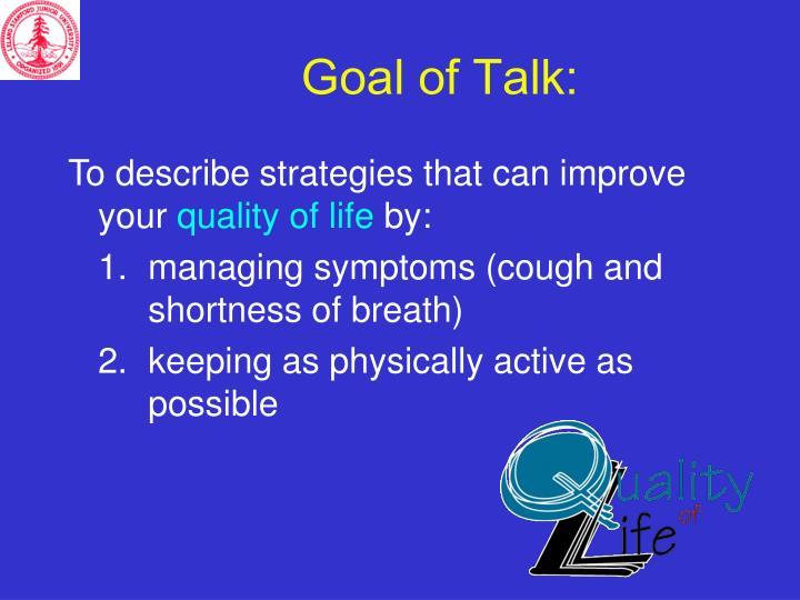 Goal of Talk: