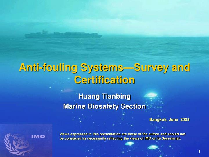 Anti fouling systems survey and certification l.jpg