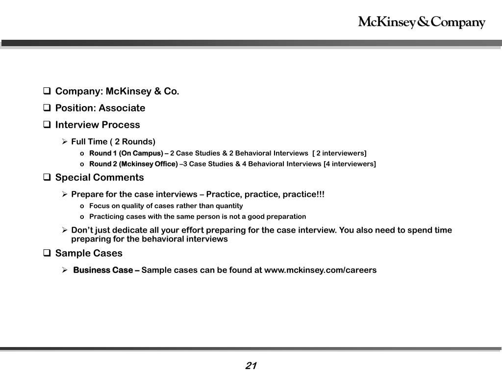 mckinsey & company case study interview exercise Mckinsey & company interview details in mckinsey & company interview questions in london, uk 1/2 hour personal interview and 1/2 hour case study interview.