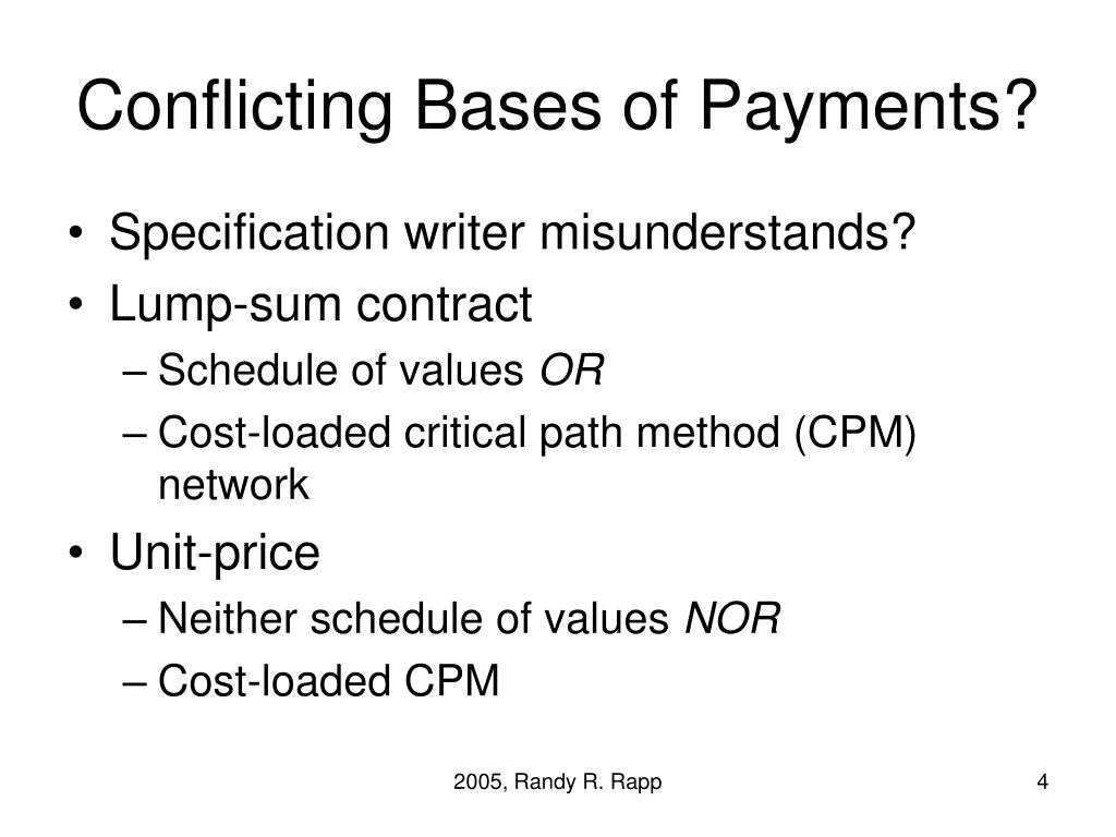 Conflicting Bases of Payments?