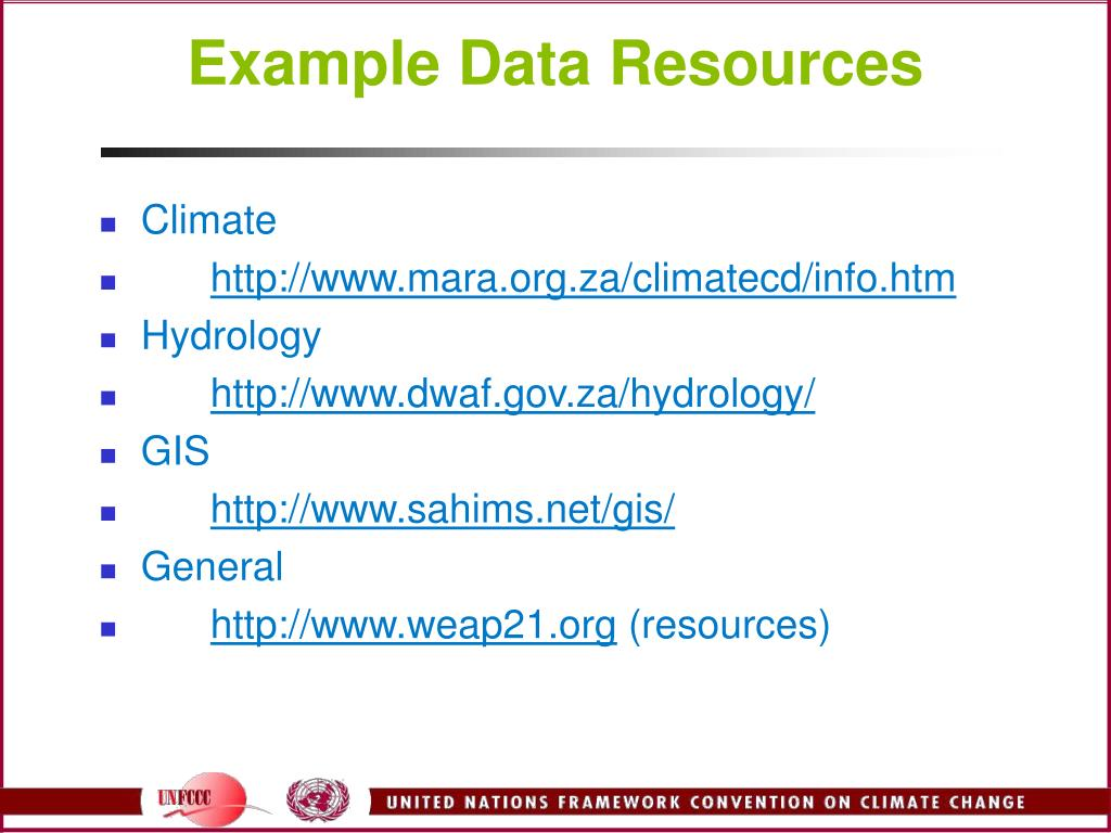 Example Data Resources