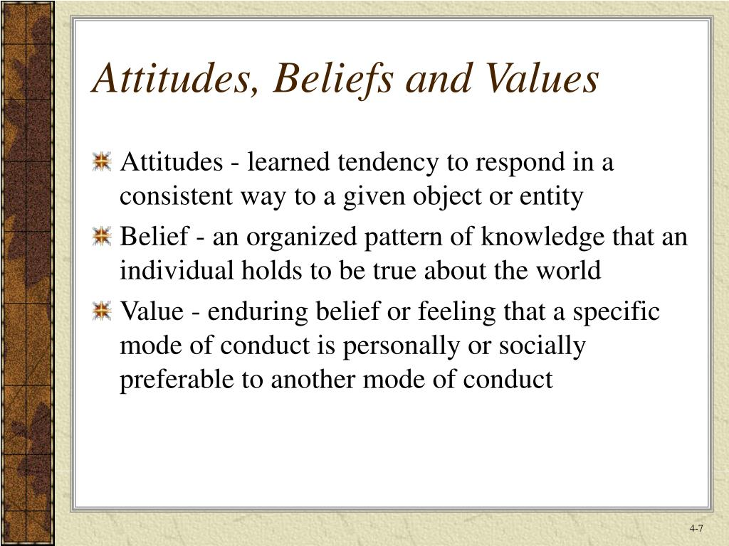 Attitudes, Beliefs and Values