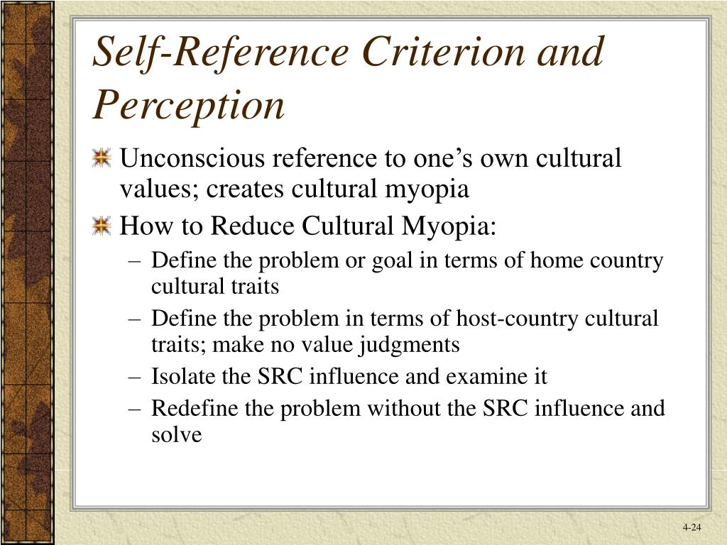 Self-Reference Criterion and Perception