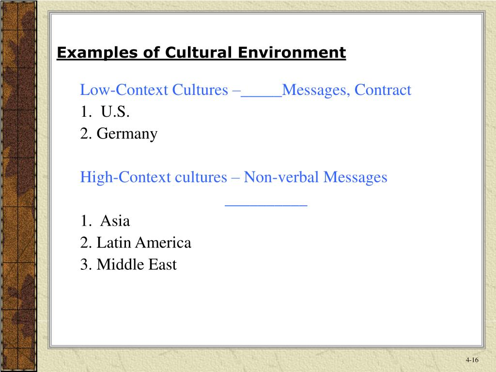 Examples of Cultural Environment