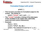formatted output with printf