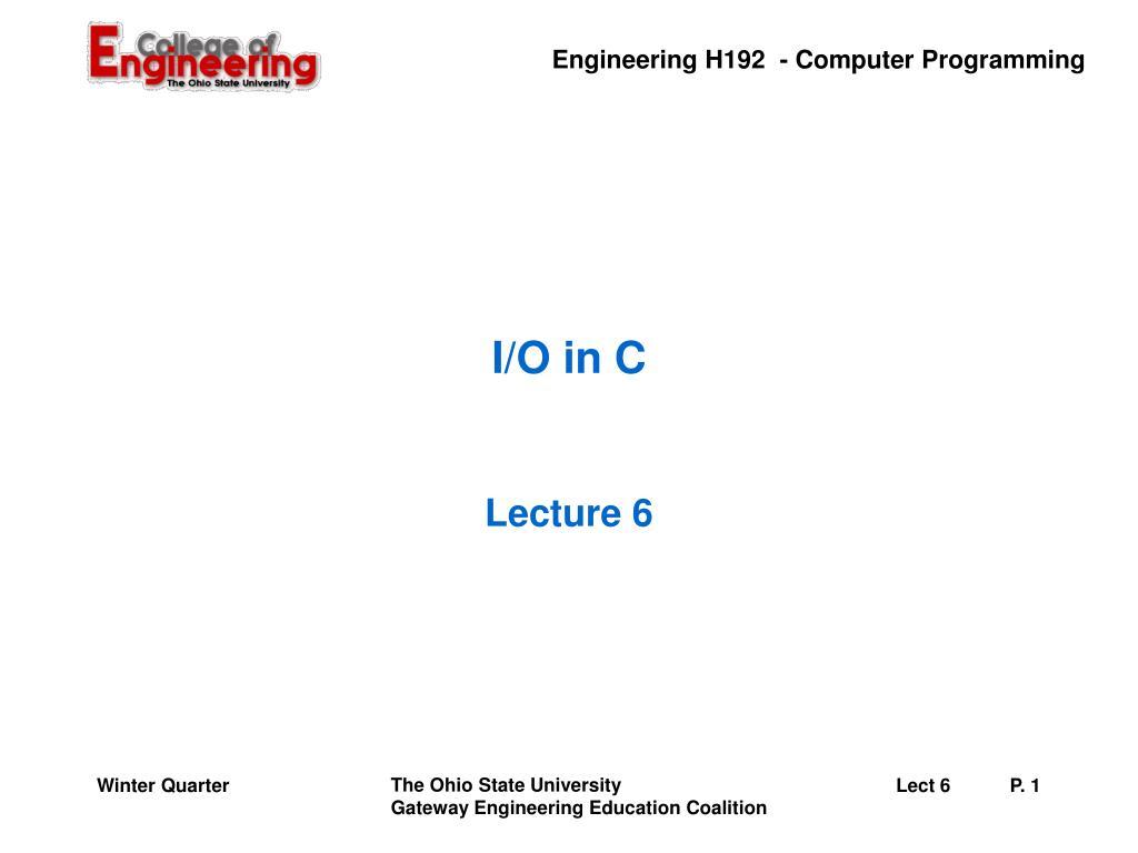 I/O in C