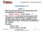 input output in c7