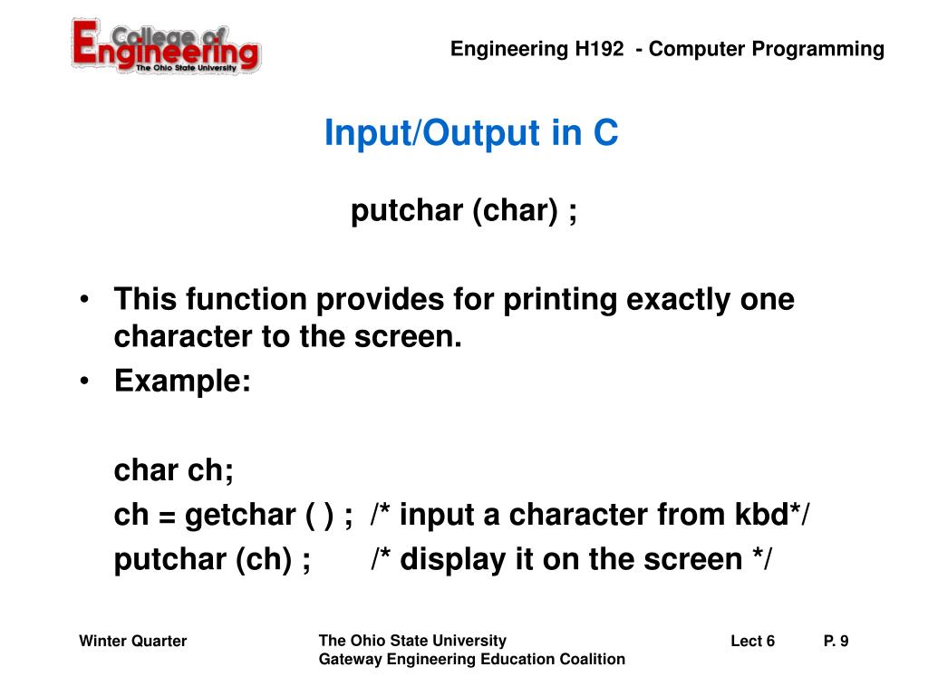 Input/Output in C