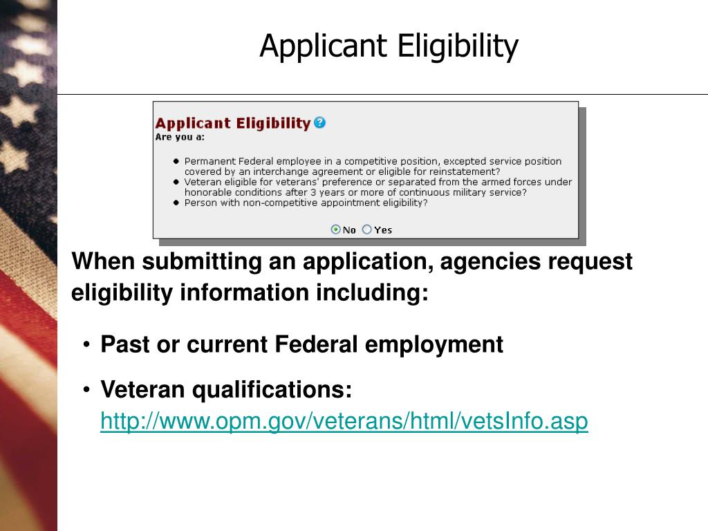 When submitting an application, agencies request eligibility information including:
