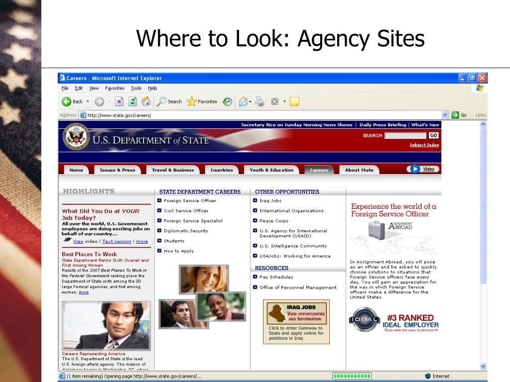 Where to Look: Agency Sites
