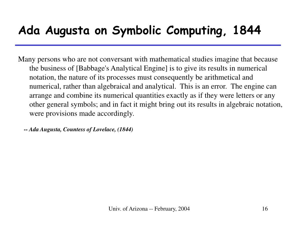 Ada Augusta on Symbolic Computing, 1844