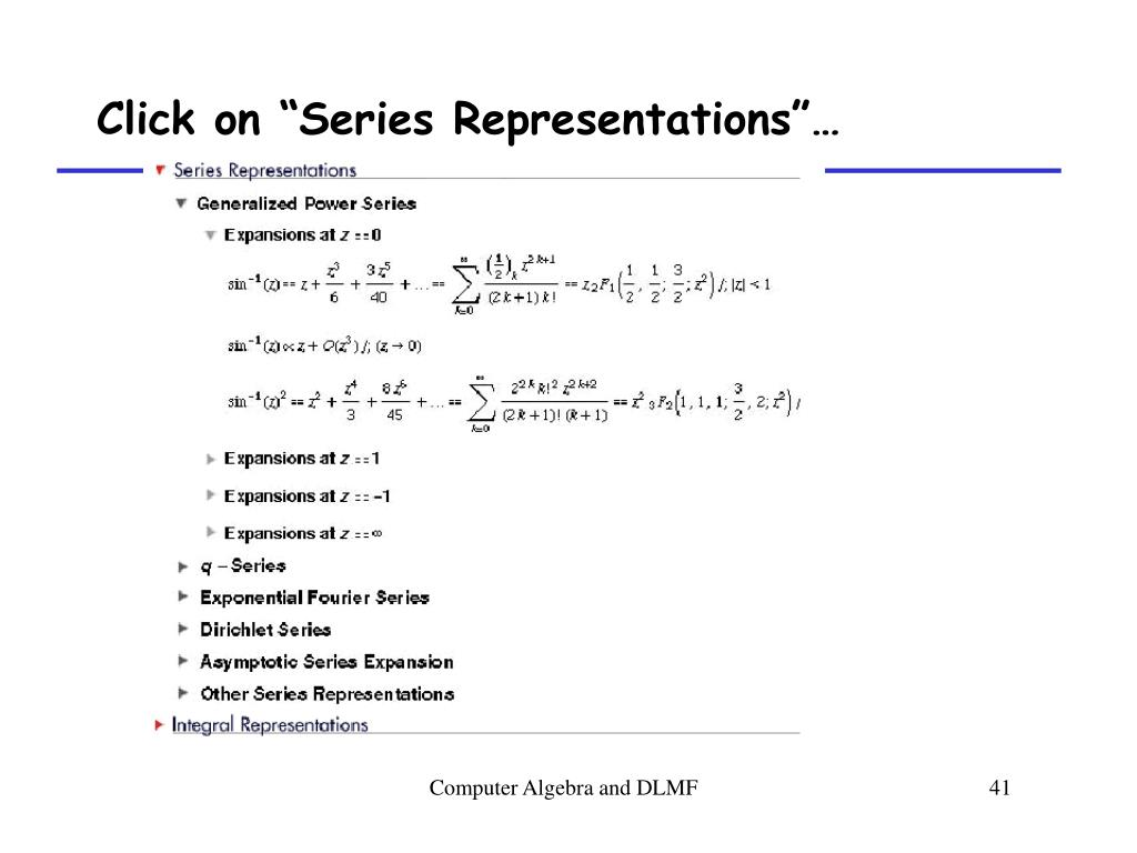 "Click on ""Series Representations""…"