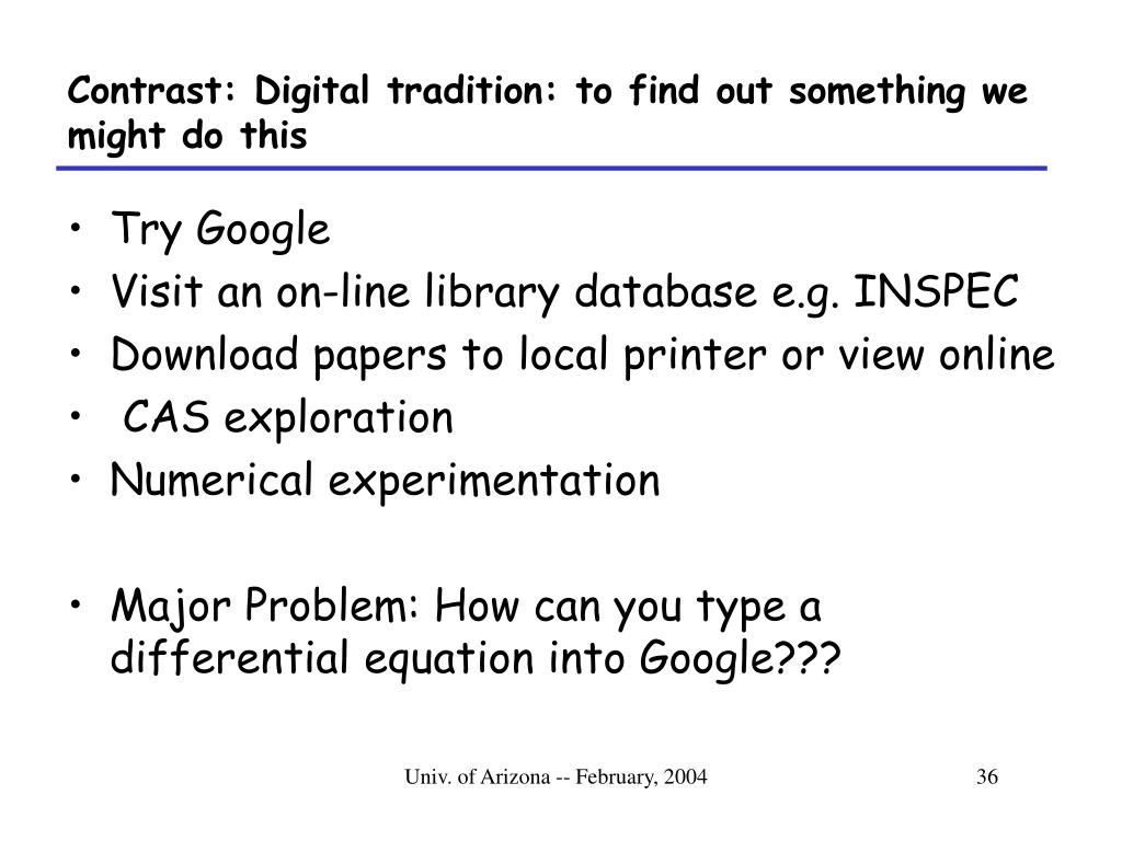 Contrast: Digital tradition: to find out something we might do this