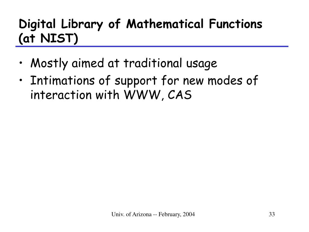 Digital Library of Mathematical Functions