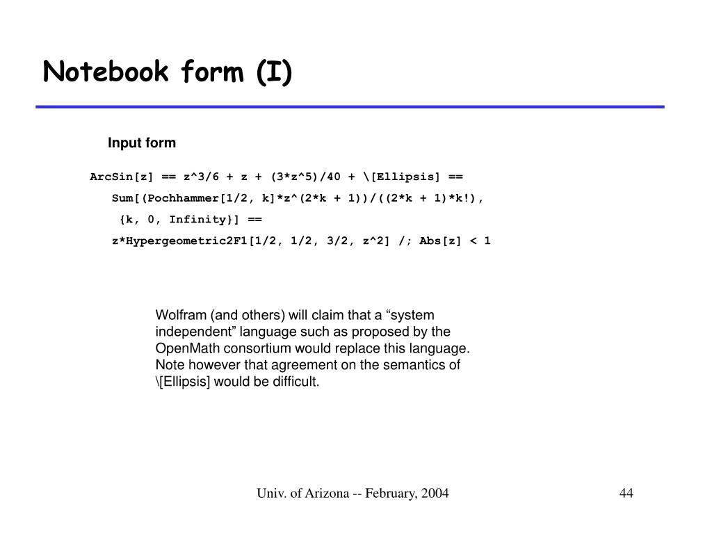 Notebook form (I)