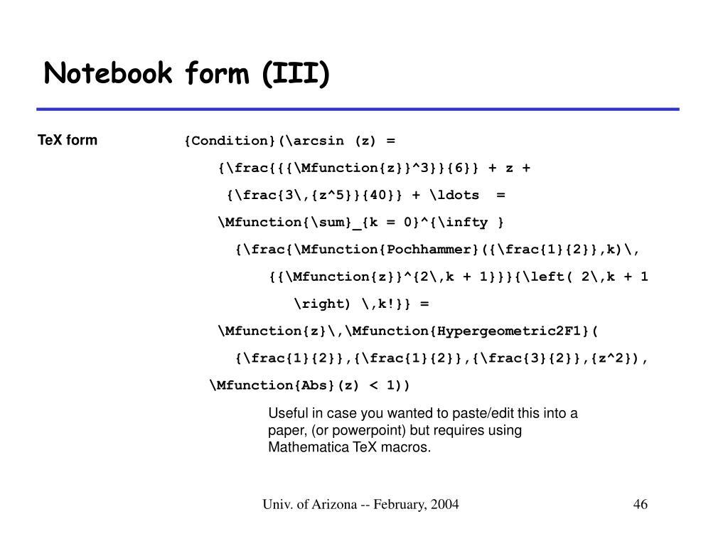 Notebook form (III)